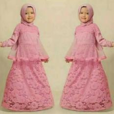 Baju Gamis Anak Perempuan Dress Pink Brokat