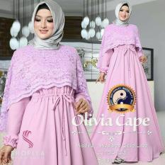 Baju Gamis Busana Fashion Muslimah Wanita Olivia Cape Pink