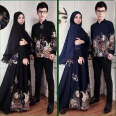 Baju Gamis Couple Katrina Set 3in1 Sepasang Dress Cewek Dan Jilbab Dan Kemeja Cowok NEW Busana Batik Sarimbit Terbaru Kekinian