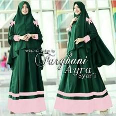 Baju Gamis Dress Pashmina Maxi Remaja Syari Syari Bergo Ribbon Farghani Ayra Green