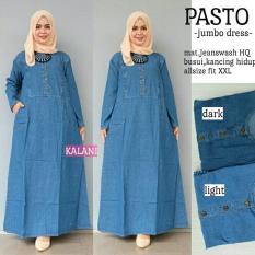 Baju Gamis Long Dress Maxi Wanita Muslim jeans busui jumbo XXL pasto