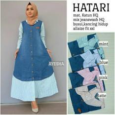 Baju Gamis Long Dress Maxi Wanita Muslim Jeans Hatari Busui Jumbo XXL
