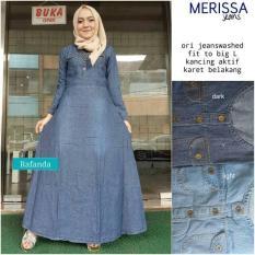 Baju Gamis Long Dress Maxi Wanita Muslim jeans merissa fit L