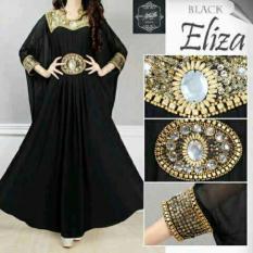 Baju Gamis Maxy Dress Syahrini Muslim Kaftan Elegance Eliza Black