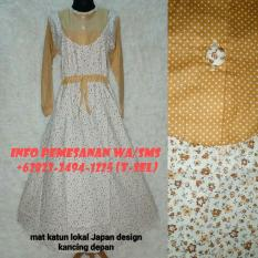 Baju Gamis Muslim Cantik Untuk Lebaran Mat Katun Lokal Japan Design Kancing Depan