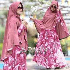 Baju Gamis Muslim Syari Fashionable  -  Gamis Army syari Pink