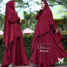 Baju Gamis Muslim Syari Fashionable  - Gamis Elsa syari Maroon