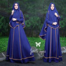 Harga Baju Gamis Muslim Syari Fashionable Gamis Janetta Syari Biru Bryant Shop Ori
