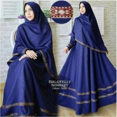Baju Gamis Muslim Syari Fashionable Gamis Pita Songket Navy Murah
