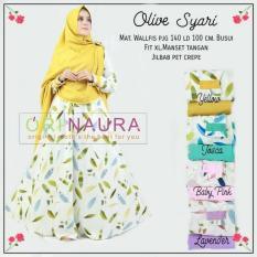 Baju Gamis Olive Set Syari Ori Naura Longdress