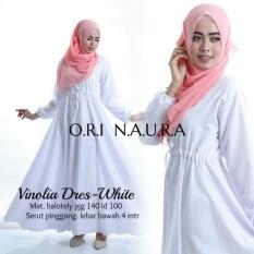 Baju Gamis Putih Polos - Longdress Vinolia Baloteli