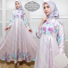 baju gamis syar'i maxmara batik bunga pink
