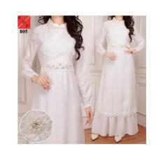 Baju Gamis Wanita / Gamis Putih / Muslim Wanita #805 STD