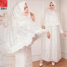 Baju Gamis Wanita/gamis putih/muslim satin #1065 STD