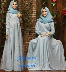 baju gaun wanita muslim gamis syari pesta premium gliter gold atau emas size xl-bubui-klok 4m