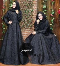 Baju gaun wanita muslim gamis syari pesta premium gliter hitam By Nurul Collection
