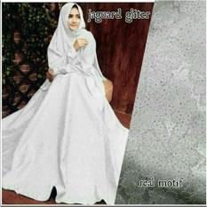 Baju Gaun Wanita Muslim Gamis Syari Pesta Premium Gliter Putih Terbaru