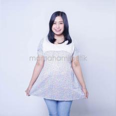 Baju Hamil Atasan Hamil Menyusui Lengan Pendek Motif Bunga Kombinasi Brokat Putih - Biru