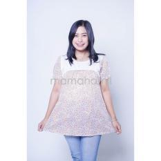 Baju Hamil Atasan Hamil Menyusui Lengan Pendek Motif Bunga Kombinasi Brokat Putih - SD 306