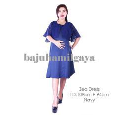 Baju Hamil Gaya - ZEA DRESS NAVY - Dress hamil Baju Hamil Menyusui Harga Murah