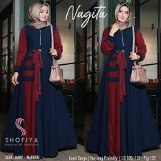 Baju Hijab Nagita Dress [navy-maroon]