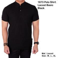 Baju Kaos Lengan Pendek Kerah Sanghai / Polo Shirt Pria Polos Hitam