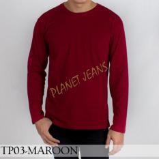 Baju Kaos Polos Lengan Panjang Pria / Polosan Cowok Warna Merah Maroon - 306B2L