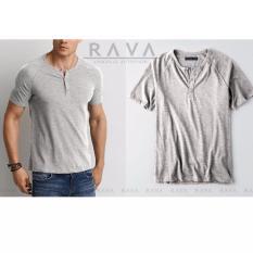 Harga Baju Kaos Pria Raglan Henley Oblong By Rava Premium Abu Paling Murah