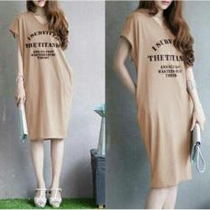 UC Baju Atasan Blouse Kaos Terusan Wanita  Survivor / Dress Tshirt Panjang / Gaun Wanita polos Formal Kasual elegant (I rvivedsu) NR - Cream