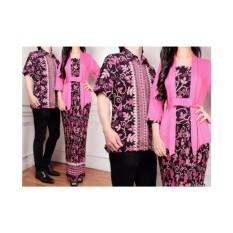 Baju Kembar / Baju Pasangan Pesta / Baju Couple Kebaya Kutubaru Motif Paya Fanta (Bawahan Rok Span Prisket) Plus Kemeja Pria