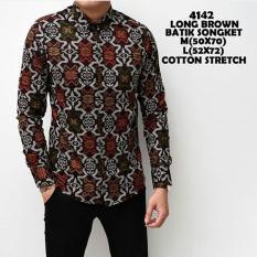 Baju Kemeja Batik Songket Zaman Now Panjang kerja Kantor Slimfit Batik Cowok Premium/Terlaris