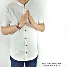 Baju Kemeja Koko Polos Polosan Putih