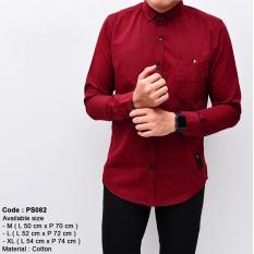 Ulasan Lengkap Tentang Baju Kemeja Kerja Kantor Pria Cowok Polos Merah Maroon Lengan Panjang Slimfit