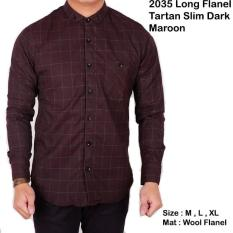 Beli Baju Kemeja Pria Lengan Panjang Flanel Kotak Kemeja Flanel Warna Maron Cowok