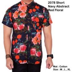 baju kemeja printing abstrak pria lengan pendek hitam floral leaf