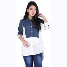 Baju Kemeja Wanita Cewek Cewe Lengan Panjang Biru Putih DC 029 CZ