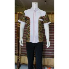 Baju Koko Batik Kombinasi Dasar Putih BP313 Hijau