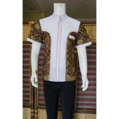 Baju Koko Batik Kombinasi Dasar Putih BP313 Ungu