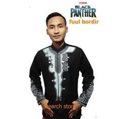 Baju Koko-Black Panther - Baju Muslim - Baju Sholat - Full Bordir (Hitam) Size L
