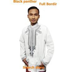 Baju Koko-Black Panther - Baju Muslim - Baju Sholat - Full Bordir (Putih) Size XXL