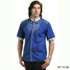 baju koko bordir pria lebaran-baju taqwa biru lebaran cowok terbaru