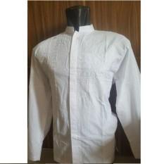 Baju Koko Lengan Panjang Untuk  Pria - Bahan Katun Bordir Putih