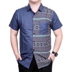 Baju Koko Muslim Batik Lengan Pendek ZO17 49SR Kemeja Fashion Pria Modern All Size - BLUE