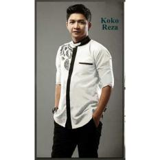 Baju Koko Muslim Pasha Premium Katun Bordir - [Putih]