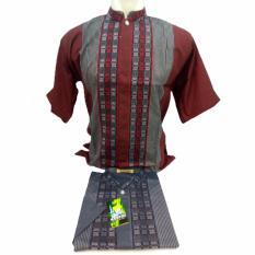 Baju Koko Pria Lengan Pendek Bordir - Kemeja Takwa Muslimin - merk Santri - Bahan Katun Bagus Halus