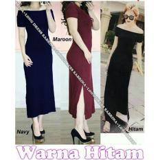 Popuri Fashion Long Dress Sabrina Benefiel - Hitam - Spandex Lengan Pendek Baju Dress Wanita Murah Kekinian Terbaru Gaun Pakaian Gaun Dress Wanita Dresss Gaun Dress Wanita Dres