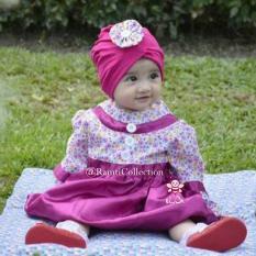 baju muslim anak elbi - Little bee boutique  I baju gamis anak pink I baju gamis perta anak bayi 6 bulan - 1 tahun I blooming dress