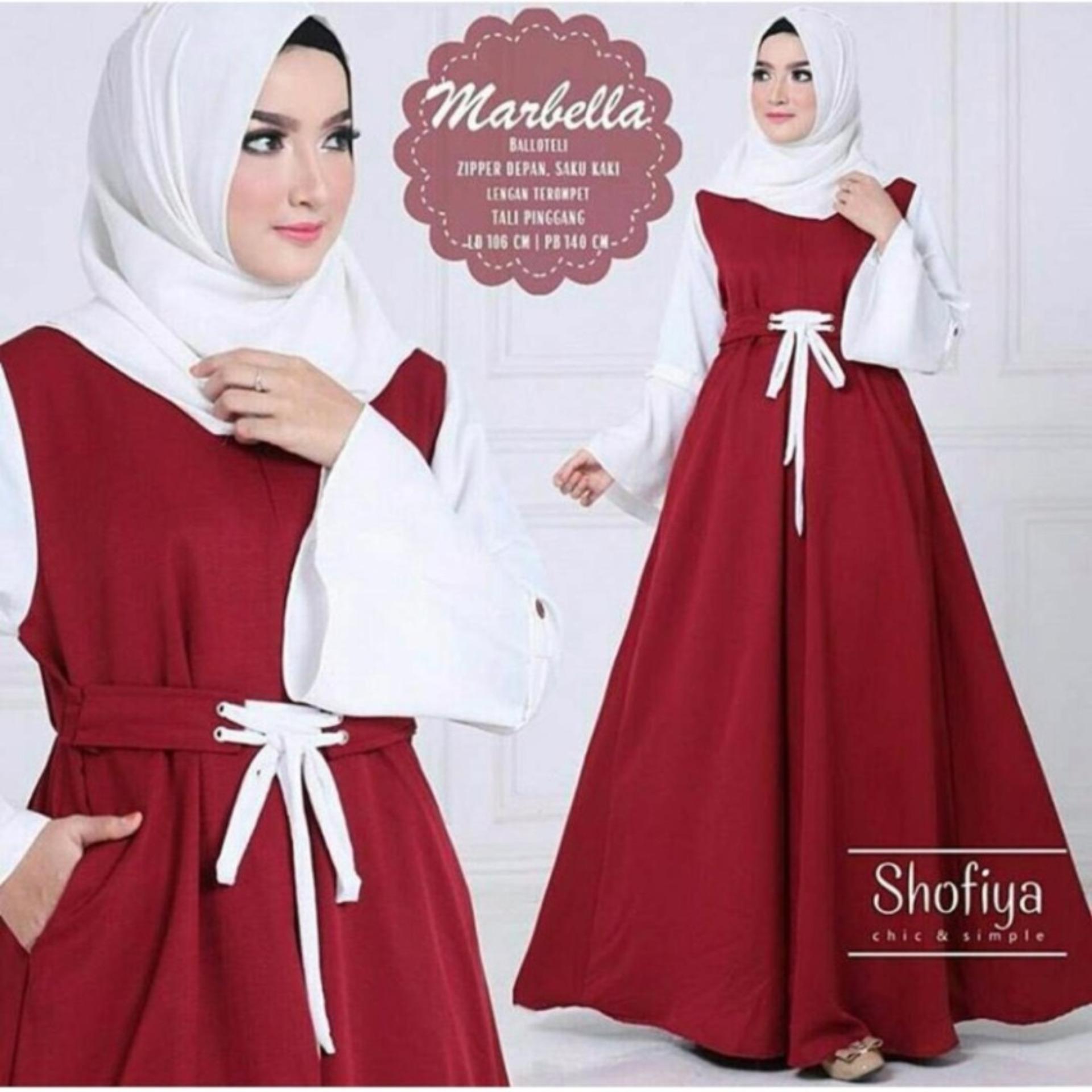 Baju Muslim Baju Gamis Marbella Dress Wolfis Gamis Panjang Hijab Casual Pakaian  Wanita Hijab Modern 93974837a0
