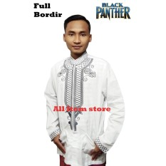 Baju Muslim Black Panther Full Bordir Original Bahan Tebal