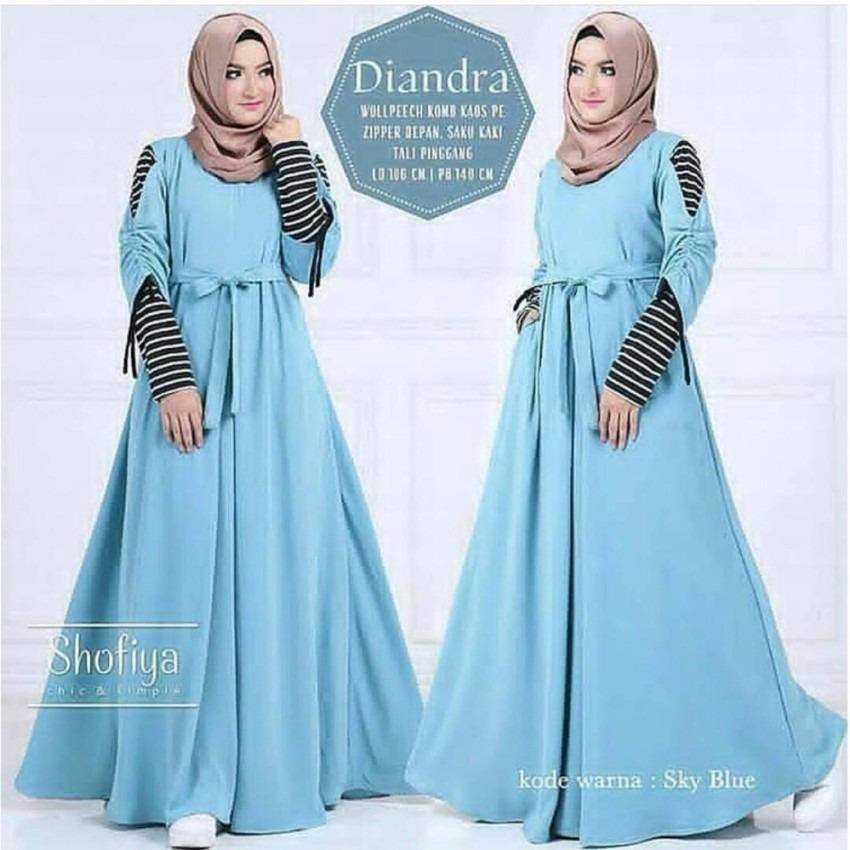 Baju Muslim Diandra Dress Wolfis Gamis Panjang Hijab Casual Pakaian Wanita  Hijab Modern 6470f39fd3